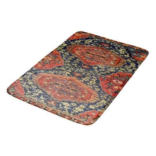 Couverture orientale dans le blue orange tapis de bain zazzle Tapis de bain mousse memoire