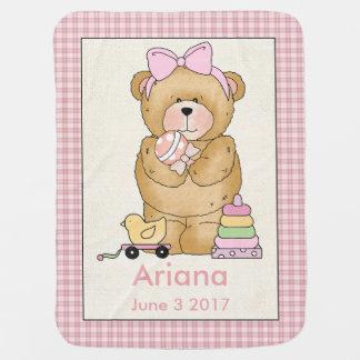 Couverture personnalisée d'ours du bébé d'Ariana Couvertures De Bébé