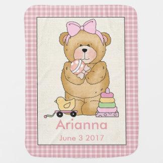 Couverture personnalisée d'ours du bébé d'Arianna Couvertures Pour Bébé