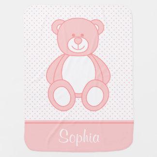 Couverture personnalisée rose de bébé d'ours de couverture de bébé