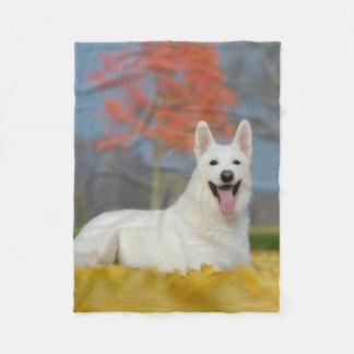 Couverture Polaire Ami velu mignon de berger de photo suisse blanche