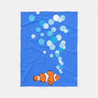 Couverture Polaire Amusement et Clownfish mignon et bulles