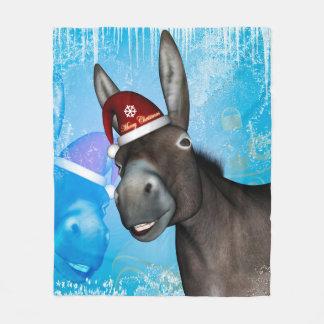 Couverture Polaire Âne drôle de Noël avec le casquette de Noël
