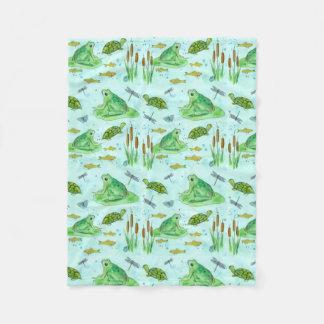 Couverture Polaire Aquarelle de poissons d'étang de grenouille