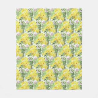 Couverture Polaire Aquarelle grande jaune d'iris barbu