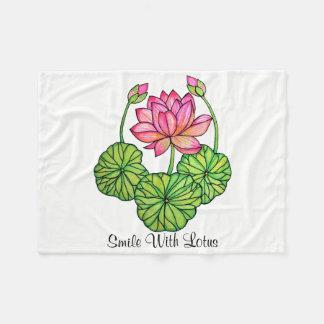 Couverture Polaire Aquarelle Lotus rose avec les bourgeons et le