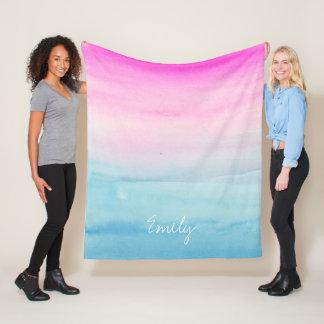 Couverture Polaire Aquarelle rose et bleue d'Ombre personnalisée