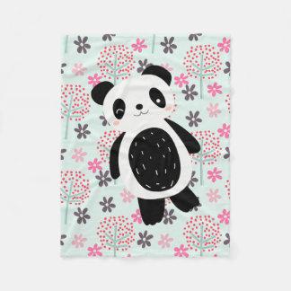 Couverture Polaire Arbres, fleurs, et ours panda