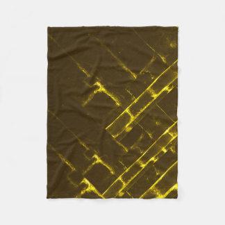 Couverture Polaire Armure géométrique jaune rustique de batik de