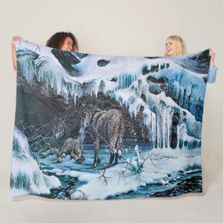 Couverture Polaire Art acrylique de faune de loup d'hiver