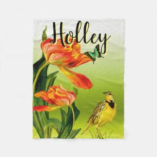 Couverture Polaire Art d'oiseau de fleur de papillon personnalisé