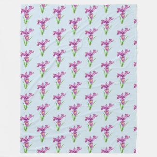Couverture Polaire Art floral d'iris pourpre d'aquarelle