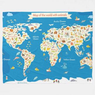 Couverture Polaire Badine la carte du monde avec des animaux