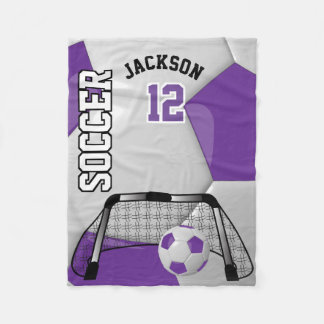 Couverture Polaire Ballon de football pourpre et blanc avec le texte