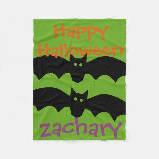 Couverture Polaire Battes noires heureuses de Halloween sur le vert