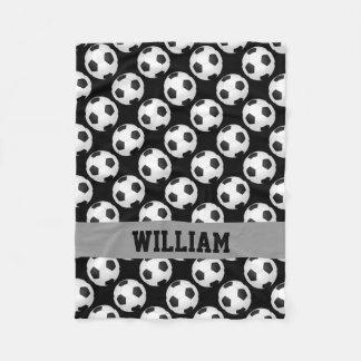 Couverture Polaire Blanc noir nommé personnalisé par sports de fan de