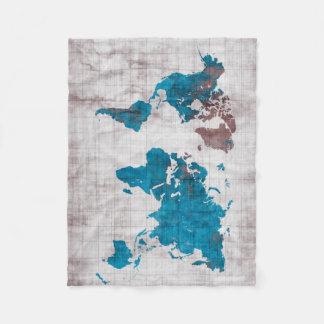 Couverture Polaire bleu blanc de carte du monde