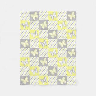 Couverture Polaire Bloc gris gris jaune d'édredon de point de polka