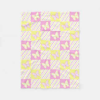 Couverture Polaire Bloc jaune rose d'édredon de point de polka de