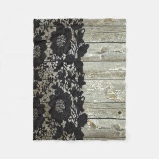 Couverture Polaire bois rustique de grange de dentelle noire de