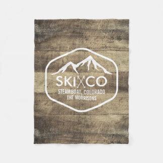 Couverture Polaire Bois rustique du Colorado de montagne vintage de