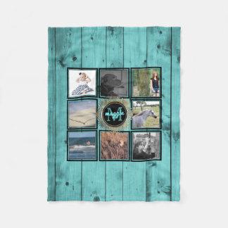 Couverture Polaire Bois Teal de turquoise du nom   de collage de