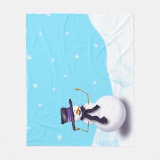 Couverture Polaire Bonhomme de neige pourpre