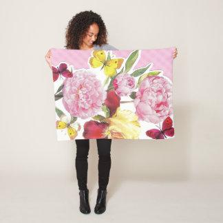 Couverture Polaire Bouquet rose et jaune floral d'iris de papillon