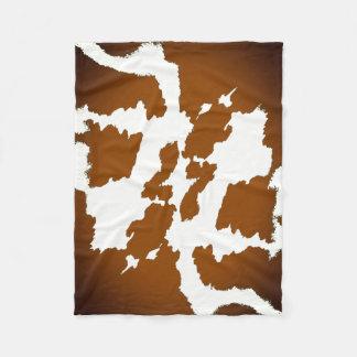 Couverture Polaire Brown et motif blanc d'impression de vache