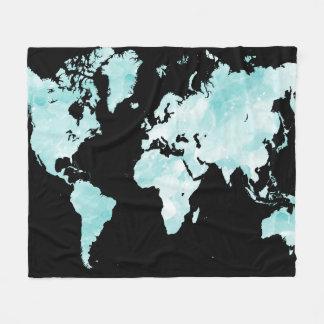 Couverture Polaire Carte bleue noire du monde de la conception 72
