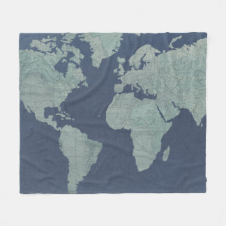 Couverture Polaire Carte de toile bleue du monde