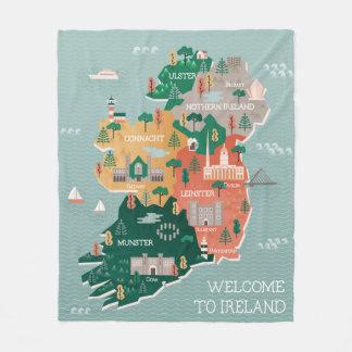 Couverture Polaire Carte de voyage des points de repère et des villes