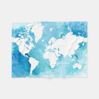 Couverture Polaire Carte du monde dans des bleus d'aquarelle
