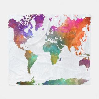 Couverture Polaire Carte du monde dans l'aquarelle