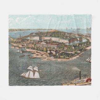 Couverture Polaire Carte imagée vintage de Fort Monroe la Virginie