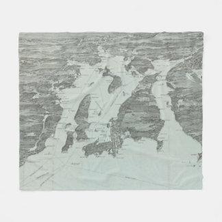Couverture Polaire Carte imagée vintage de la baie de Narragansett
