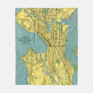 Couverture Polaire Carte vintage de Seattle Washington (1914)