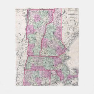 Couverture Polaire Carte vintage des états de la Nouvelle Angleterre