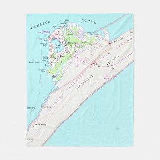 Couverture Polaire Carte vintage d'Ocracoke la Caroline du Nord