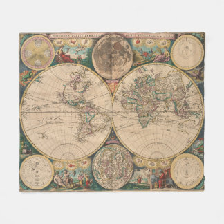 Couverture Polaire Carte vintage du monde (1672) 2