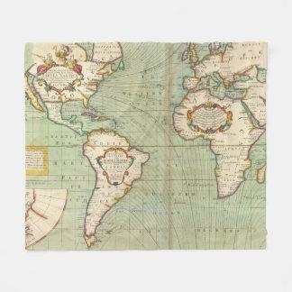 Couverture Polaire Carte vintage du monde (1702)