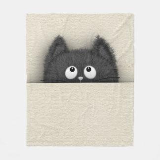 Couverture Polaire Chat noir pelucheux mignon faisant une pointe