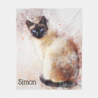 Couverture Polaire Chat siamois d'aquarelle à la mode personnalisé