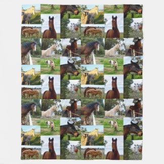 Couverture Polaire Chevaux dans un collage de photo, grande