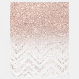 Couverture Polaire Chevron moderne de faux d'or d'ombre rose Girly de