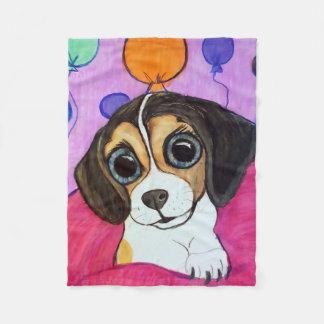 Couverture Polaire Chiot de beagle avec des ballons