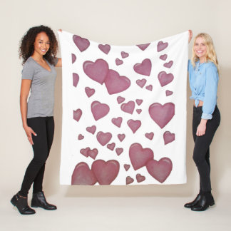 Couverture Polaire Coeurs roses
