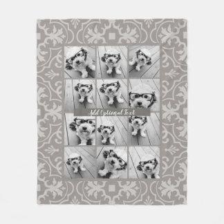 Couverture Polaire Collage de 12 photos - motif rustique de tuile de