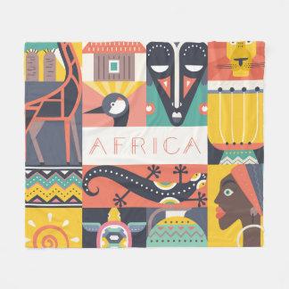 Couverture Polaire Collage symbolique africain d'art