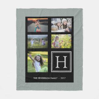 Couverture Polaire Collage vert rustique de photo de monogramme de